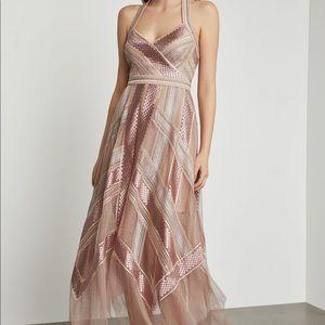 $418 BCBG Blush Metallic Handkerchief Dress